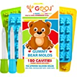Premium Gooj Kid Safe Gummy Bears 3 Mold of 150 pieces, 3 Droppers + Easy Recipe Great for Healthy snacks, BPA Free, Perfect For Sour, Champagne, and Organic Gummi Candy, Ice cubes
