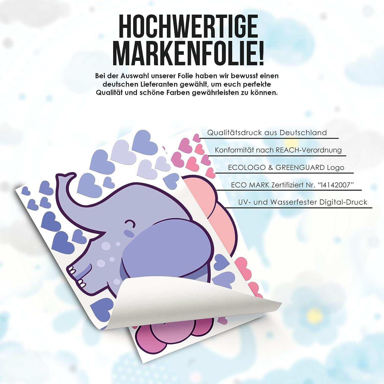 Wandfolie M/ädchen in Blau Pink Tapete Rauhfaser Sticker zum Kleben 50 Teile Elefanten Familie Wandtattoo mit Baby Seifenblasen Wandaufkleber Kleinkind Wanddeko Kinderzimmer Zoo Tiere Wandsticker