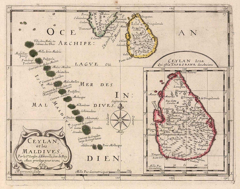 Amazon Com Historic Map Ceylon And Maldives 1652 World