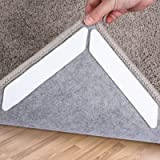 Rug Grippers, 16 pcs Double Sided Washable Removable Anti Curling Corner Carpet Gripper , Non Slip Adhesive Rug Tape for Hard