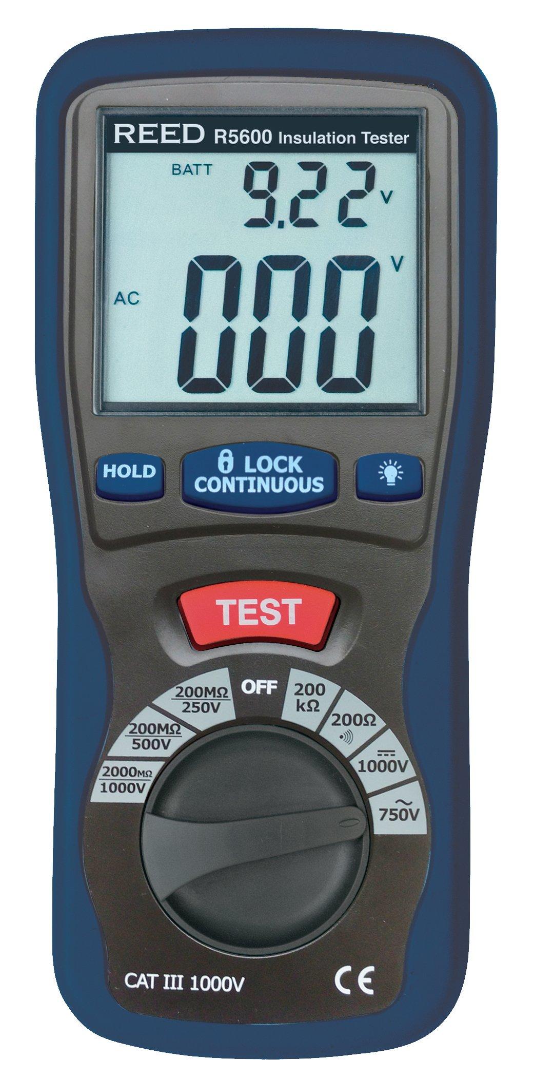 REED Instruments R5600 Insulation Tester and Multimeter (Megohmmeter), 2000 Ohms Resistance, 1000V Voltage by REED Instruments
