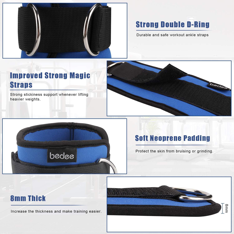 bedee 2pcs Bandes élastiques + Poids de Cheville et Poignet, Bande de Résistance pour Fitness, Yoga, Entrainement Crossfit et Motrice, Entrainement Corps, Jambes, Fessier