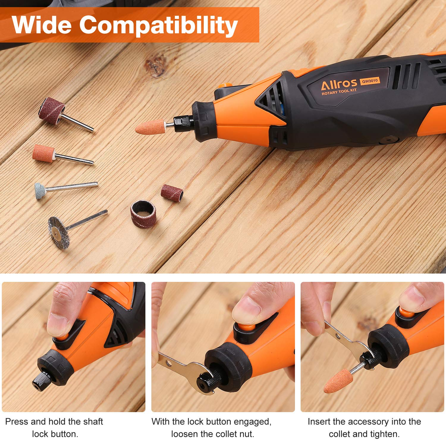 ALLROS 170W Rotary Tool Kit with Flex Shaft Sanding Polishing Drilling Variable Speed Control 8000-35000 RPM 100 Accessories Kit and Storage Case Cutting Ideal Tool for DIY Creations