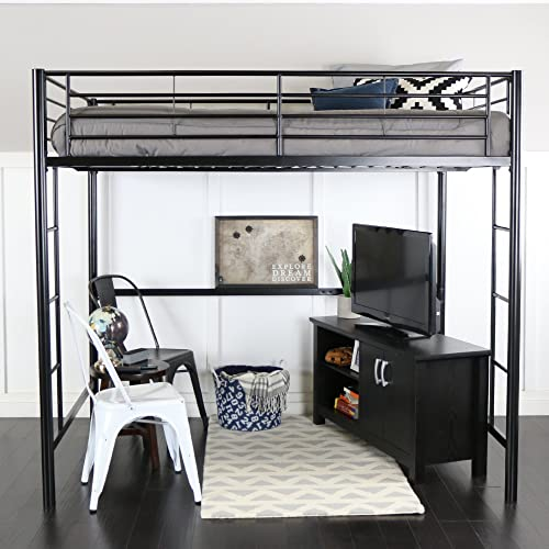 WE Furniture AZDOLBL Modern Metal Pipe Full Double Size Loft Kids Bunk Bed Bedroom Storage Guard Rail Ladder