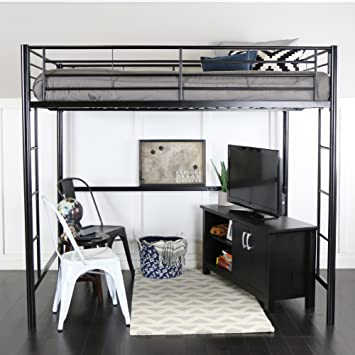 Walker Edison WE Furniture Loft Bunk Bed Full Metal Black