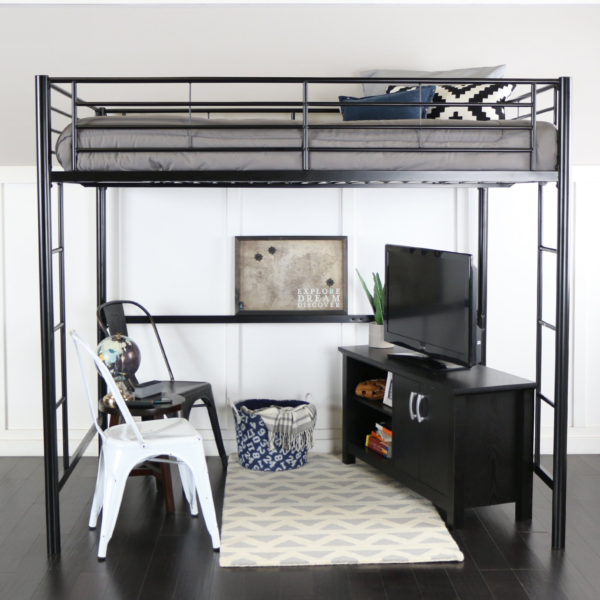 WE Furniture Full Size Metal Loft Bed, Black