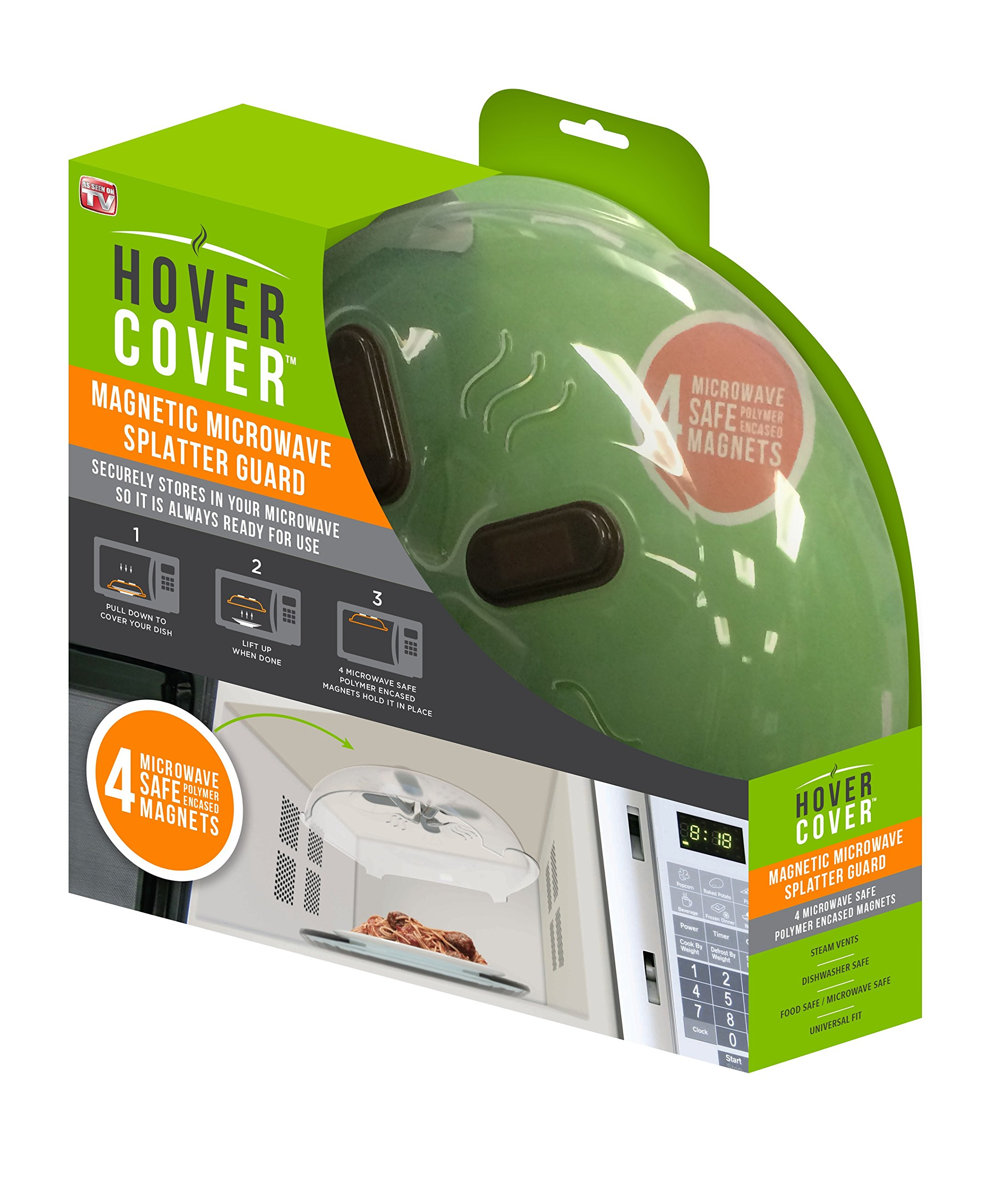 Allstar Innovations Hover Cover Magnetic Microwave Splatter Lid with Steam Vents Cover | Dishwasher Safe BPA Free | 11.5 Inch