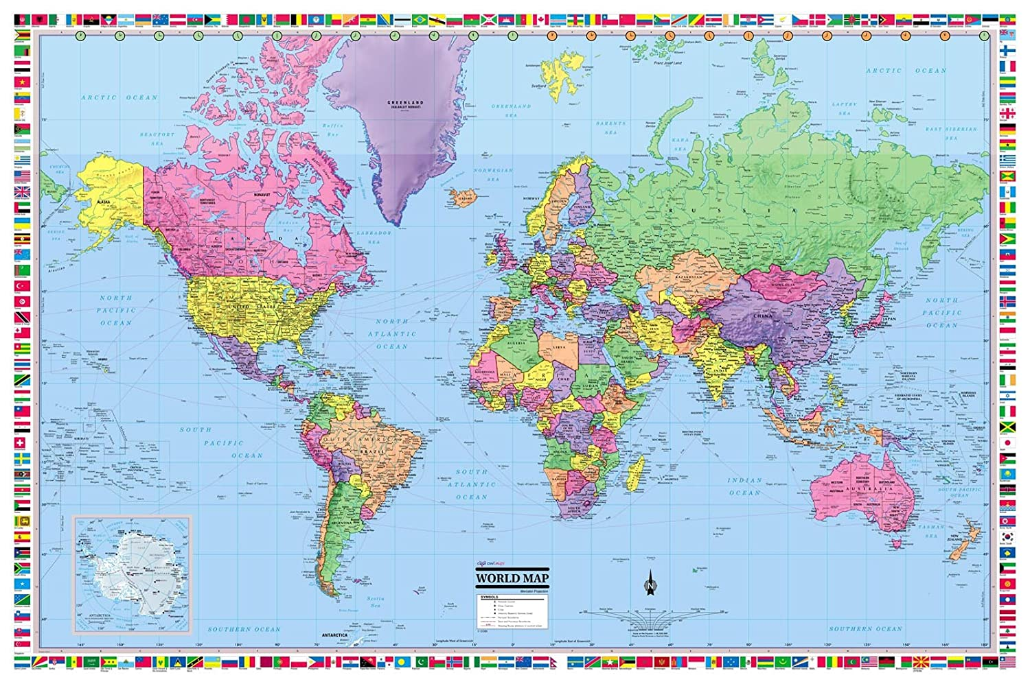 Amazon.com : CoolOwlMaps World Wall Map Political with Flags Poster ...