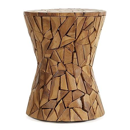 Deco 79 38418 Wood Teak Stool, 15 x 17 , Brown