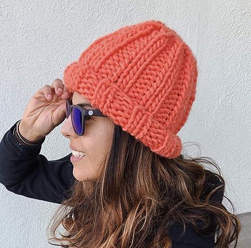 725fa845c Amazon.com: Womens Coral Orange Chunky Oversized Beanie Hat Handmade ...
