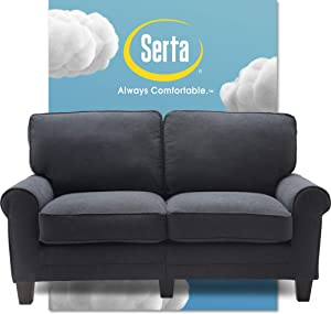 "Serta Copenhagen Sofa Couch for Two People, Pillowed Back Cushions and Rounded Arms, Durable Modern Upholstered Fabric, 61"" Loveseat, Charcoal"