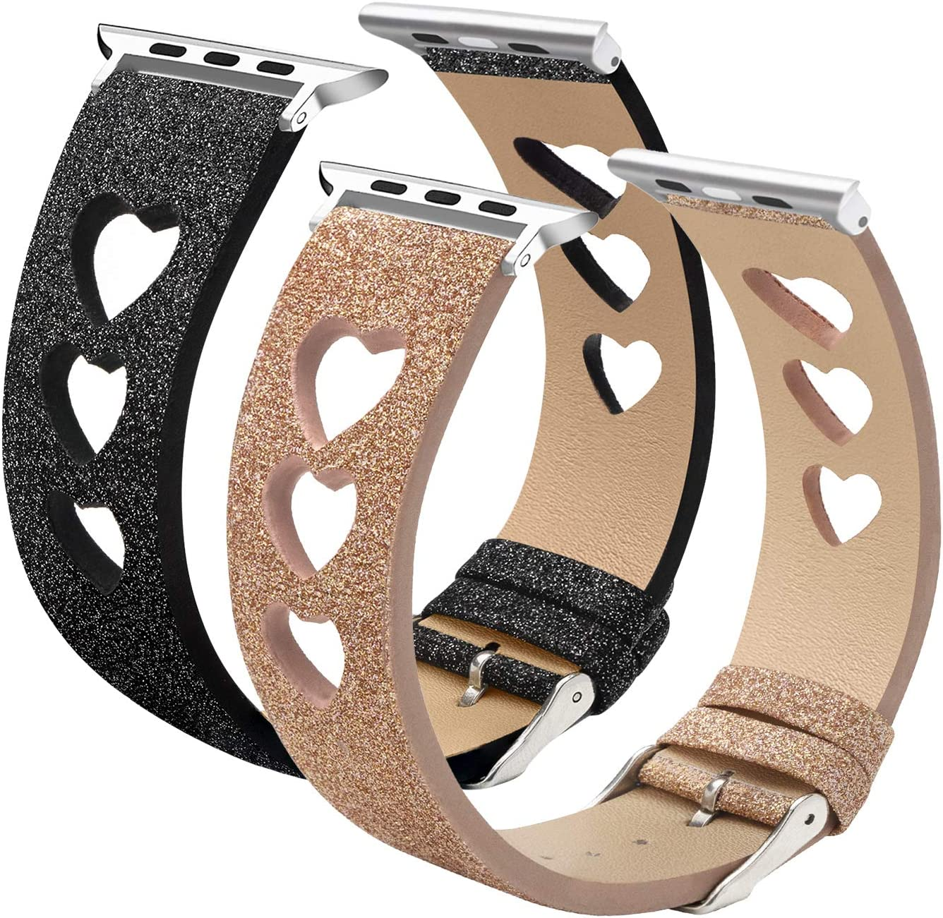 EurCross 2 Pack Bling Watch Band Compatible with Apple Watch 38mm 40mm 42mm 44mm, Bling Glitter Wristband Replacement Strap Women for iWatch Series 5/4/3/2/1