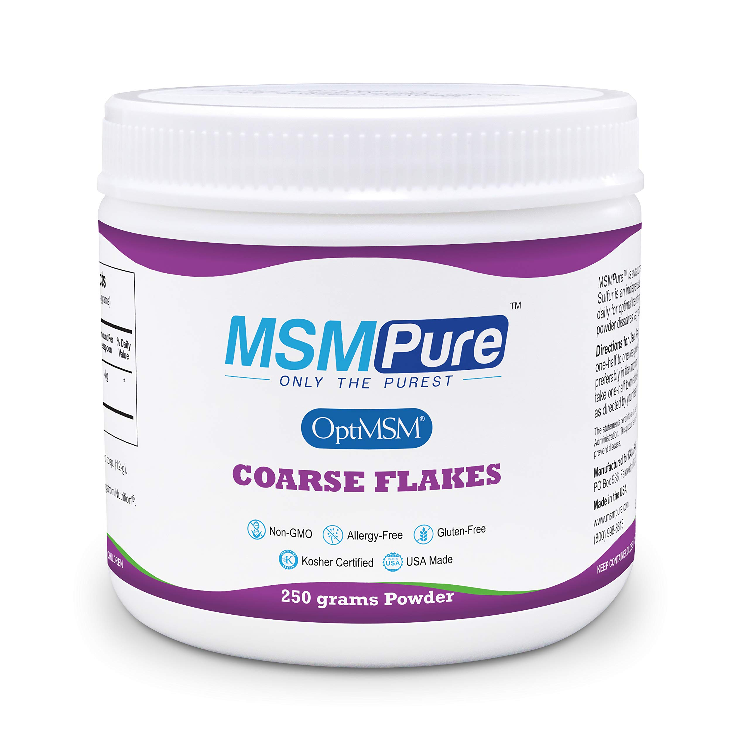 Kala Health MSMPure Coarse Powder Flakes, 8.8 ozs, Pure MSM Organic Sulfur Crystals Supplement for Joint Pain, Muscle Soreness, Inflammation Relief, Immune Support, Skin, Hair & Nails, Made in USA