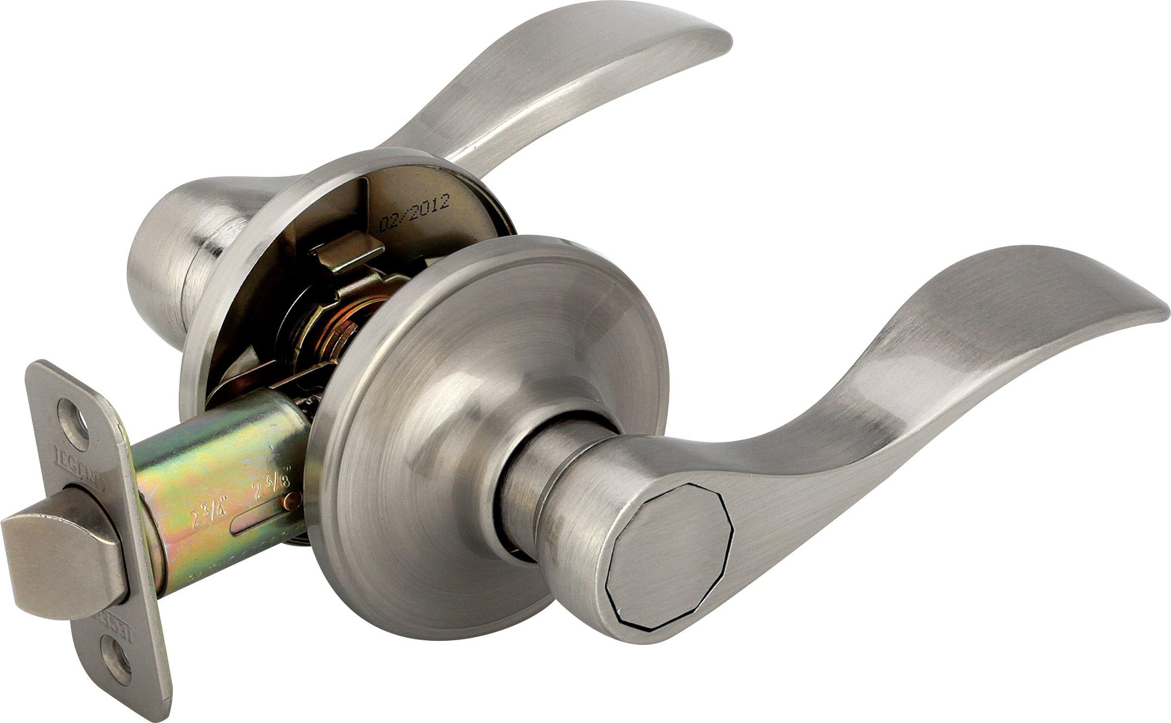 Legend 809124 Wave Style Lever Handle Passage Hall and Closet Leverset Lockset, US15 Brushed Nickel Finish