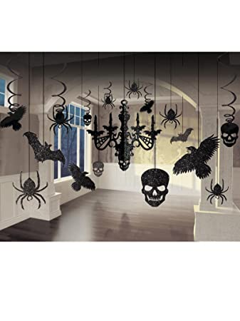 glitter haunted house chandelier halloween trick or treaty party decorating kit paper 15