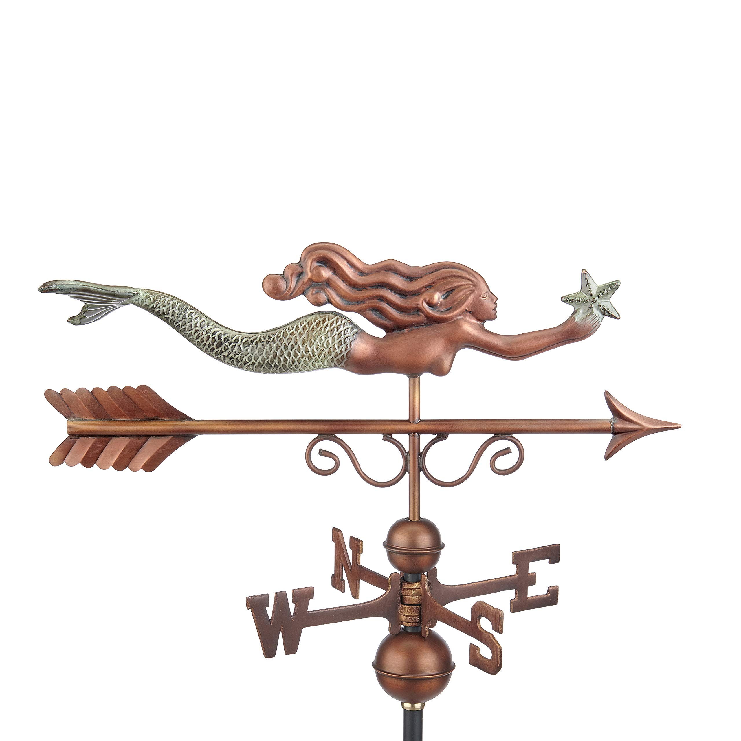 Good Directions 1978GRN Little Mermaid Weathervane, Pure Copper Hand Finished Patina