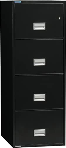 Phoenix Vertical 25 inch 4-Drawer Legal Fireproof File Cabinet with Water Seal, Black