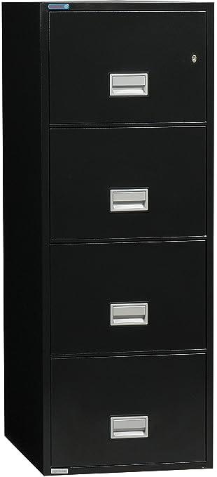 Phoenix Vertical 25 inch 4-Drawer Legal Fireproof File Cabinet - Black