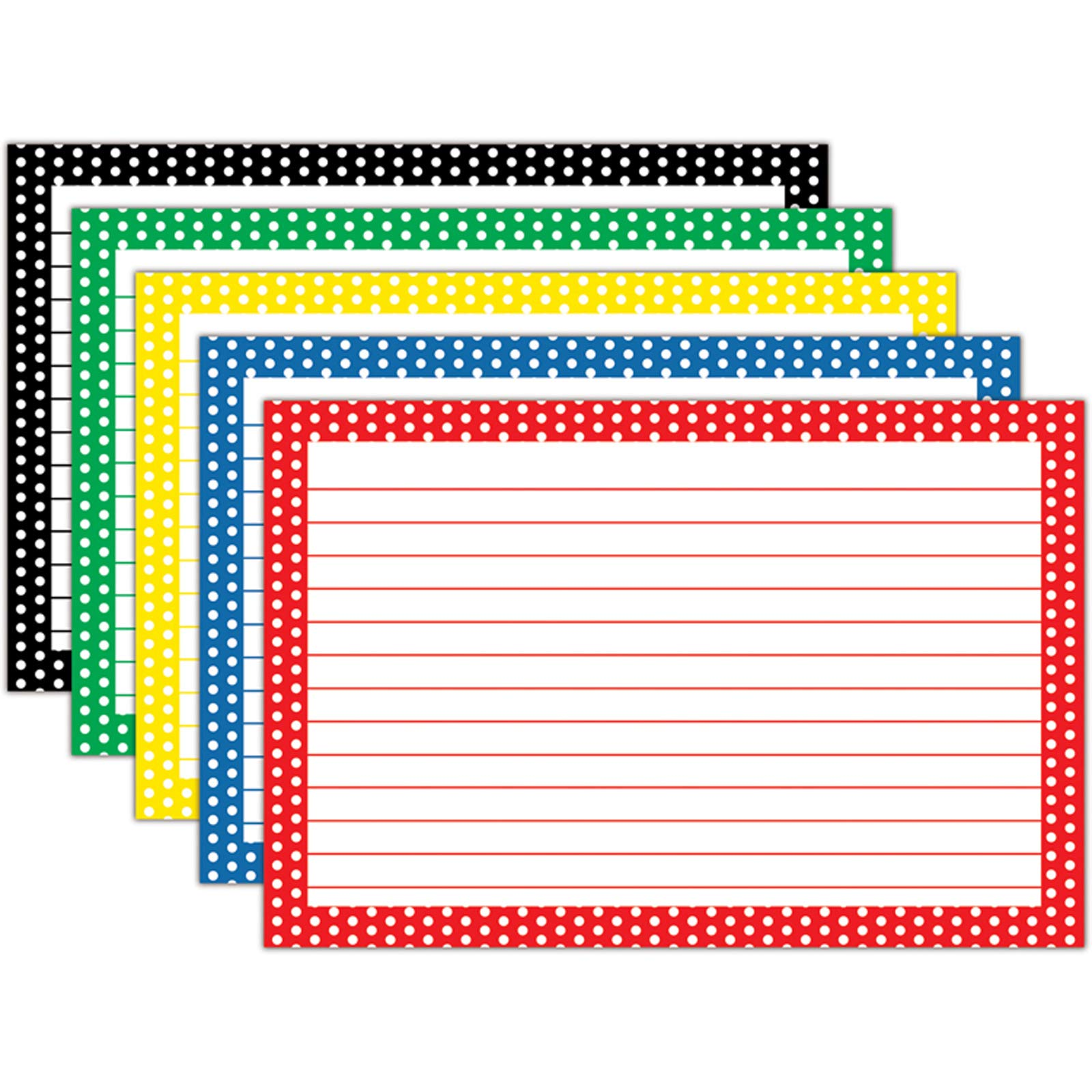 Top Notch Teacher Products TOP3669BN Border Index Cards, 4'' x 6'' Lined, Polka Dot, 75 Per Pack, 12 Packs