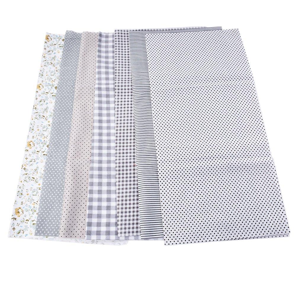 7PCs Tissu Carré en Coton Série de Vert Bricolage Patchwork Petites Fleurs Coupon DIY Quilting Loisir Créatifs Textile Artisanat Bundle Couture Scrapbooking 25x 25cm