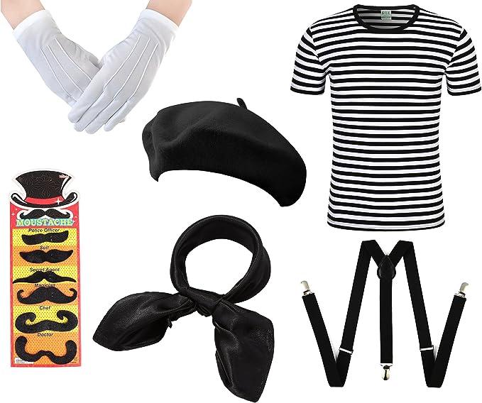 Amazon.com: Para hombre francés Man disfraz Francia 6 pc set ...