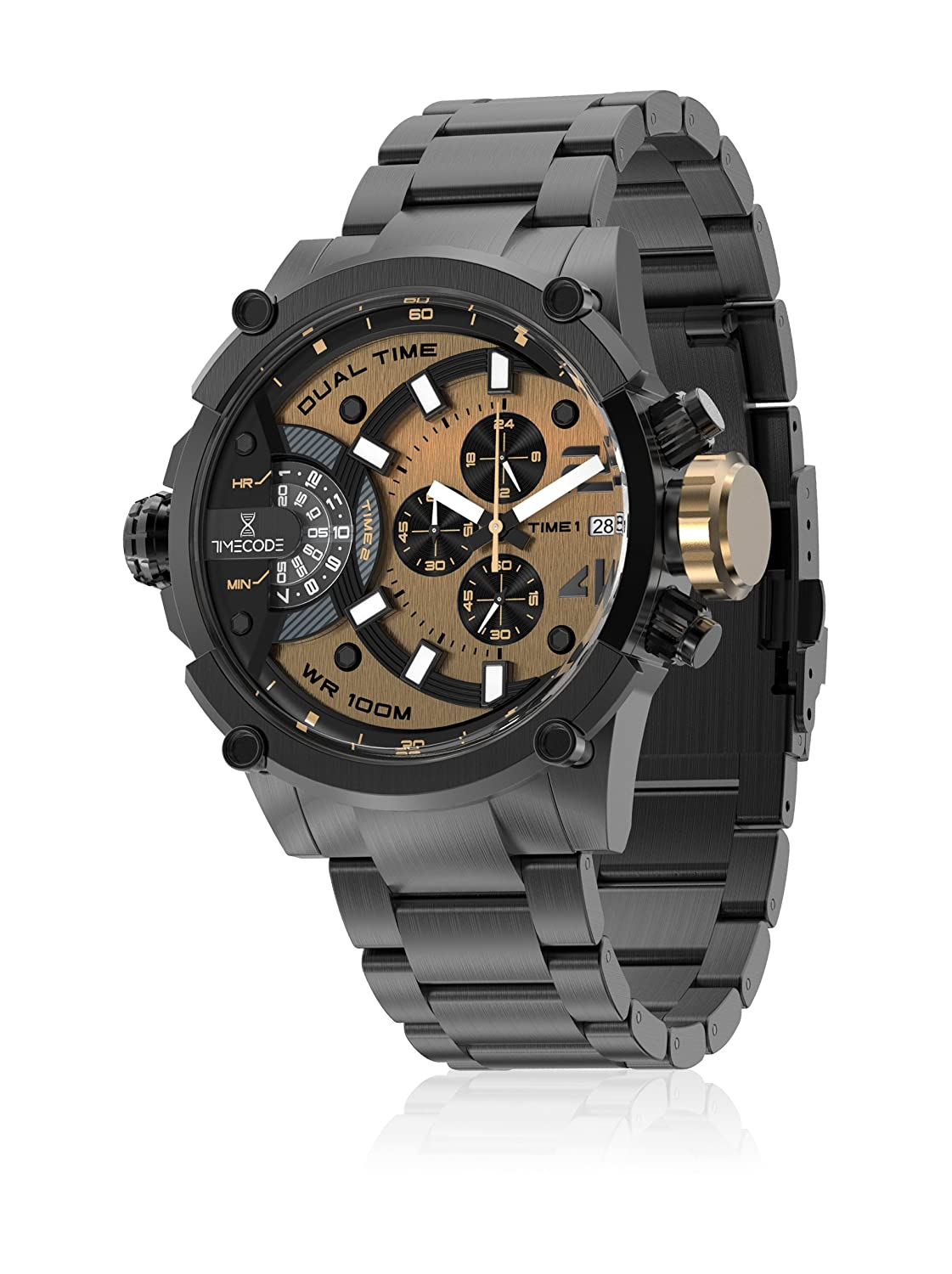 Amazon.com  Timecode Albert 1905 TC-1003-07 Black Stainless steel 50mm  Men s Watch BLACK dial with LIGHT BROWN accents on a BLACK stainless steel  bracelet ... def407364a1
