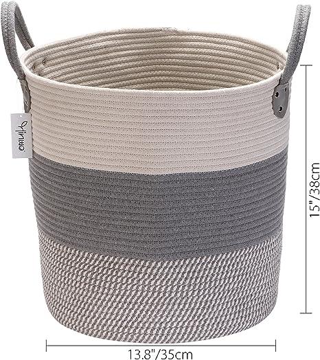Hinwo Cesta de Almacenamiento de Cuerda de algodón Cesto de lavandería Plegable Organizador de contenedor de Almacenamiento de guardería con Asas, 15 x 13.8 Pulgadas: Amazon.es: Hogar