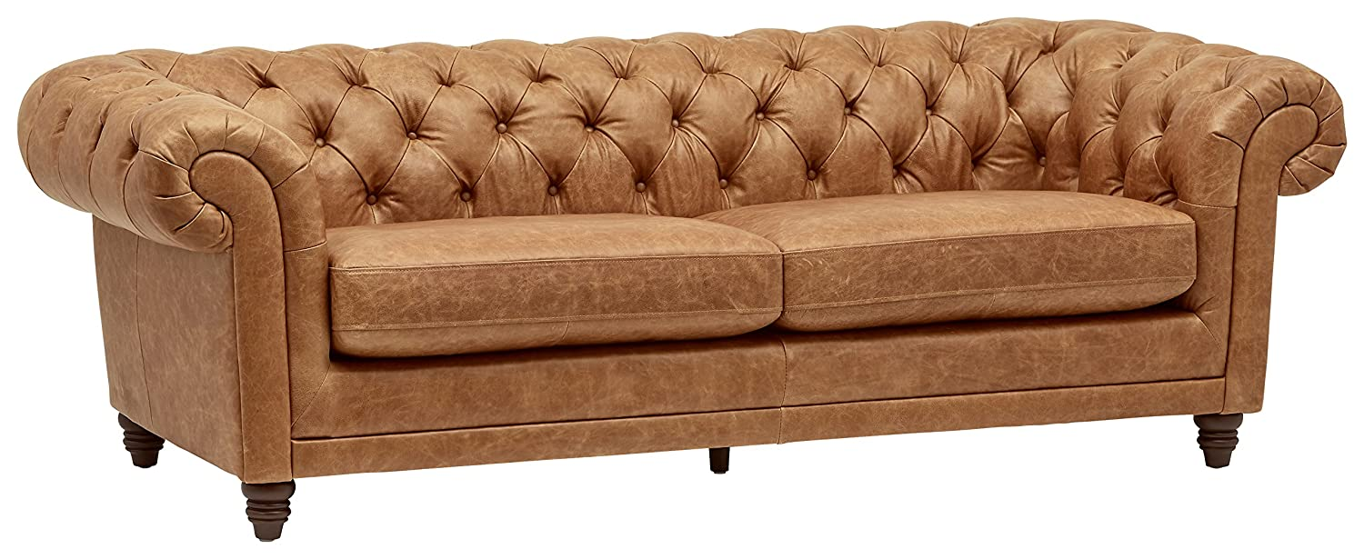 Sensational Stone Beam Bradbury Chesterfield Modern Tufted Leather Couch 92 9W Cognac Download Free Architecture Designs Salvmadebymaigaardcom