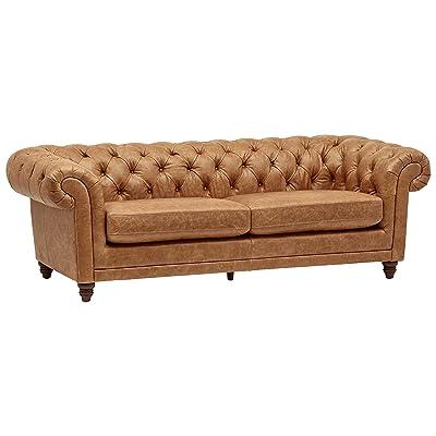 "Stone & Beam Bradbury Chesterfield Modern Sofa, 93"" W, Cognac"