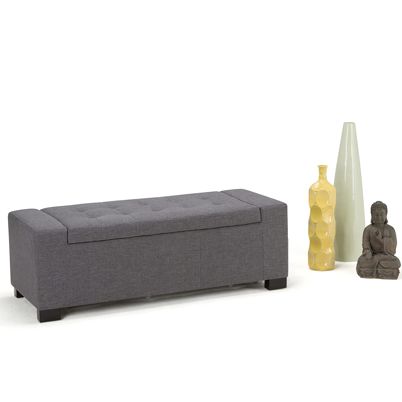 Amazon.com: Simpli Home Laredo Rectangular Storage Ottoman Bench, Large,  Slate Grey: Kitchen U0026 Dining