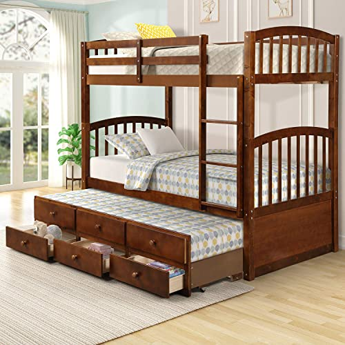 Twin Over Twin Bunk Bed with Safety Rail, Ladder, Twin Trundle Bed with 3 Drawers for Kids, Teens Bedroom, Guest Room Furniture by Harper Bright Designs Walnut