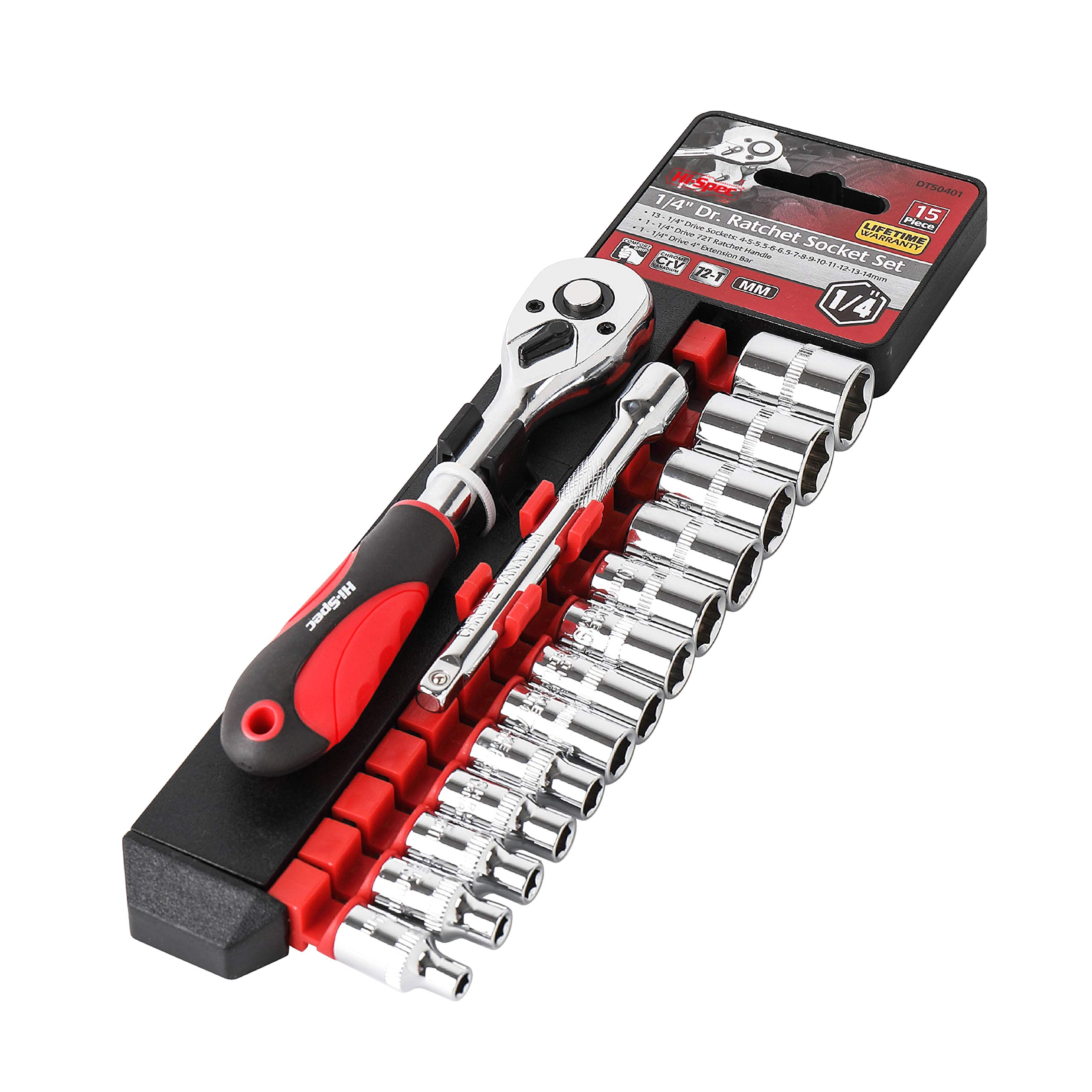 Hi-Spec 12pc 1/4'' Metric Socket Set with 72 Teeth Ratchet Drive Socket Handle with Quick Release Function, 5-14mm Socket Sizes & 100mm Extension Bar with Convenient Storage Rack Multi-Socke