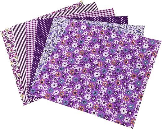 6 Piezas Telas Patchwork ROSENICE cuadrados Tela de Algodón artesanía de coser DIY paño (Púrpura): Amazon.es: Hogar