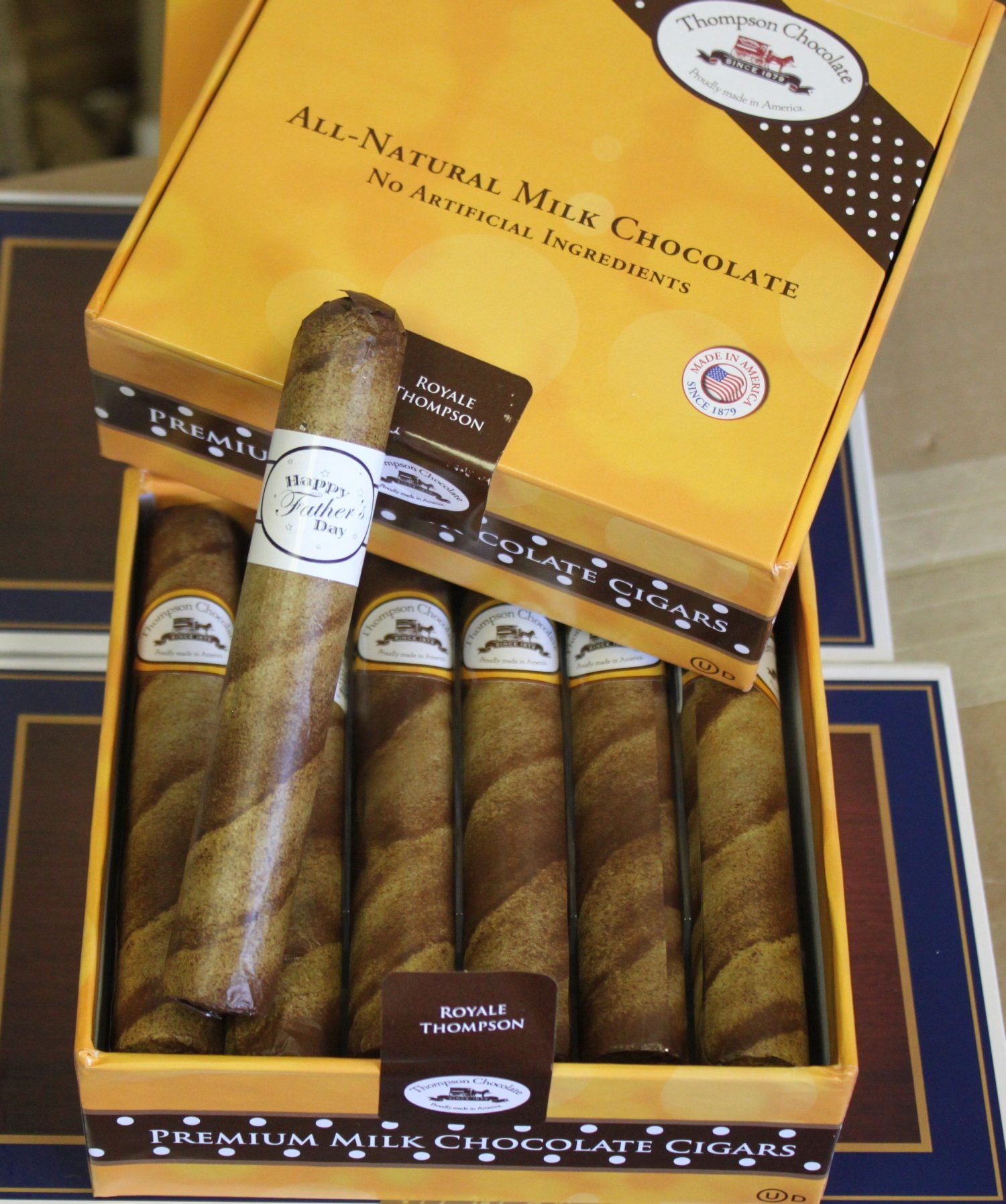Father's Day Chocolate Cigars in a Fancy Cigar - Box of 12 Royale Father's Day Cigars by FavorOnline