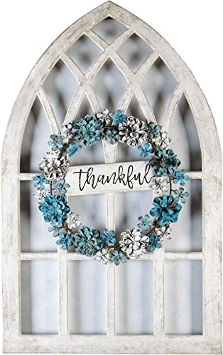 Luxen Home Metal/Wood Thankful Cathedral Window Wall Decor
