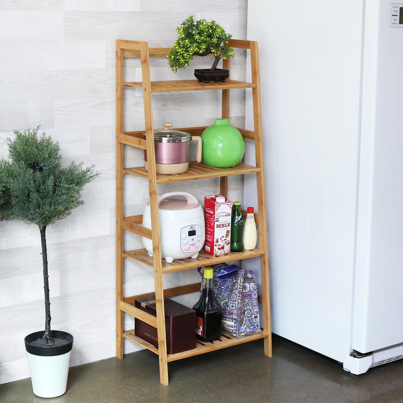 Weiß HF Pflanzen Deko etc 1 Stück HOMFA Bücherregal Metall Standregal Leiterregal Treppenregal Lagerregal Badregal Stufenregal Pflanzenregal mit 4 Böden 60x35x147cm perfekt für Bücher