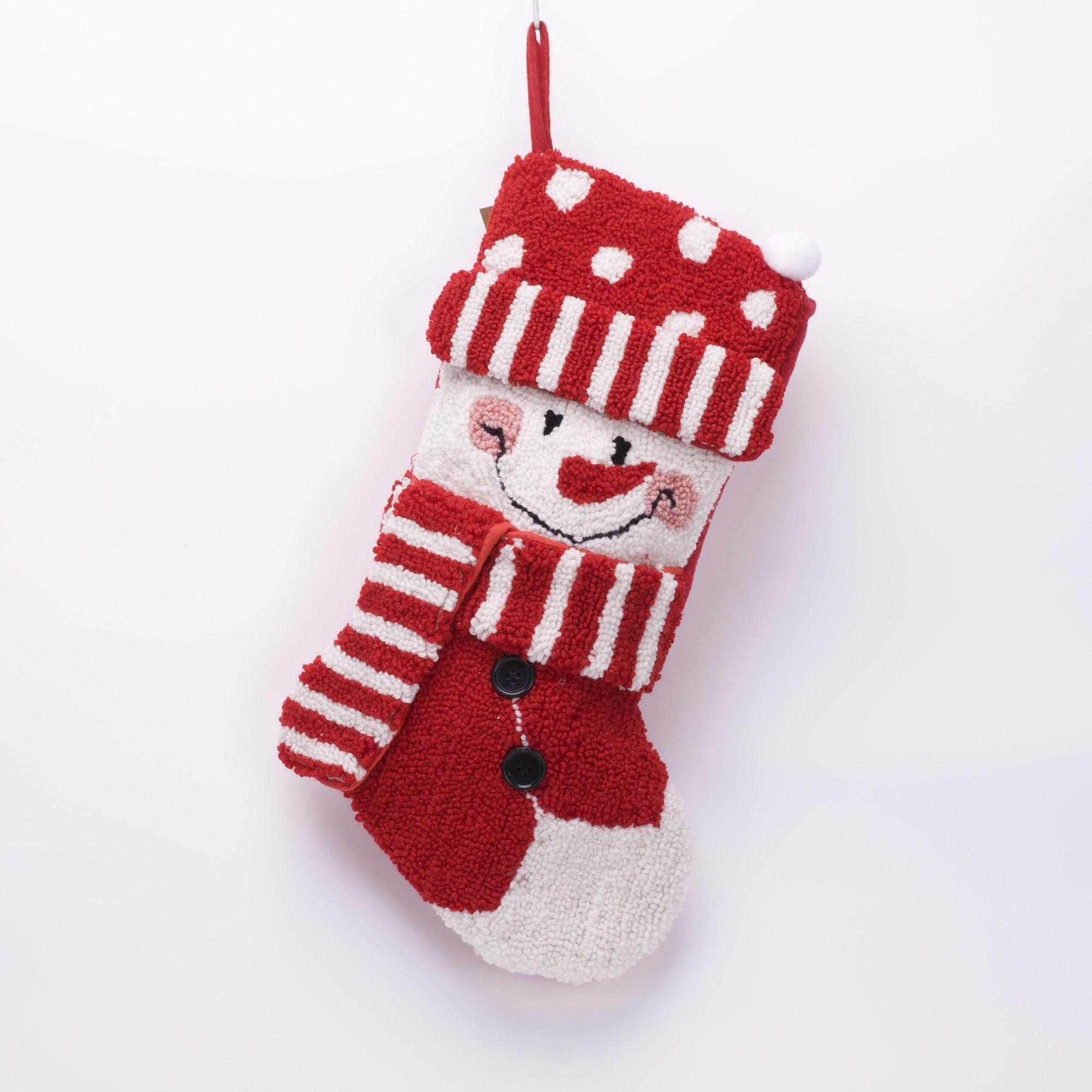 Glitzhome 20'' Handmade Hooked 3D Snowman Christmas Stocking