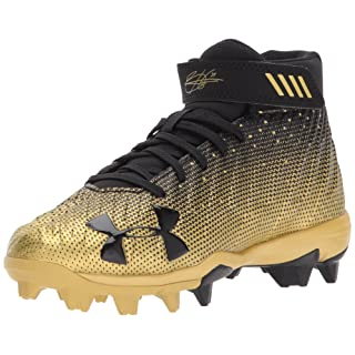 Under Armour Boys' Harper 2 Jr. RM Baseball Shoe, Black (007)/Metallic Gold, 2