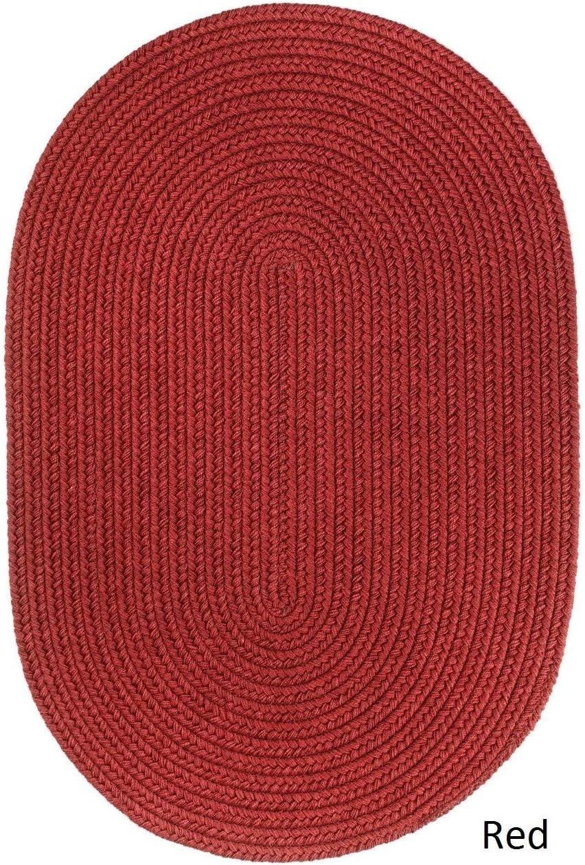 Rhody Rug Woolux Wool Ovall Braided Rug 2 x 3 Red 2 x 2 9