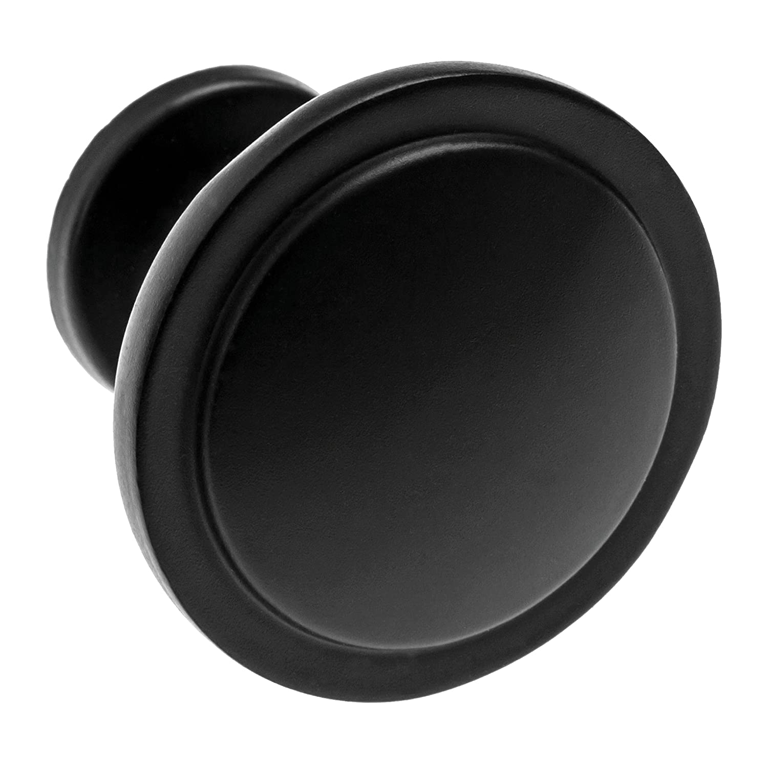 """26 Beautiful Cabinet knobs Flat Black (26) Pack - Round Solid Metal knobs - Free Hardware Screws for Doors and Drawers - 1-1/4"""" Diameter"""