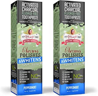 product image for My Magic Mud Charcoal Teeth Whitening Toothpaste, Verified Enamel Safe & Clinically Proven, Organic Coconut Oil, Essential Oils, Best Natural Whitener, Fluoride-Free, Vegan, Peppermint 2-Pack (4oz)