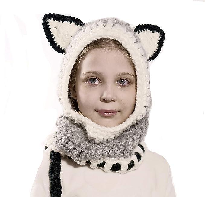 Richoose Inverno caldo Coif Cappuccio Sciarpa Caps Cappello Earflap Fox  scialli di lana lavorato a maglia cappelli della protezione per il bambino  scherza ... d5bb7291e140