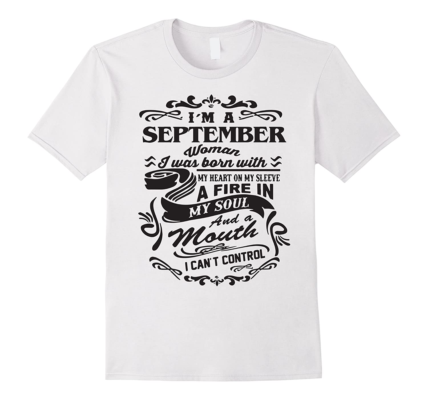 3ab234327 im a september woman i was born with my heart white tshirt-Vaci – Vaciuk