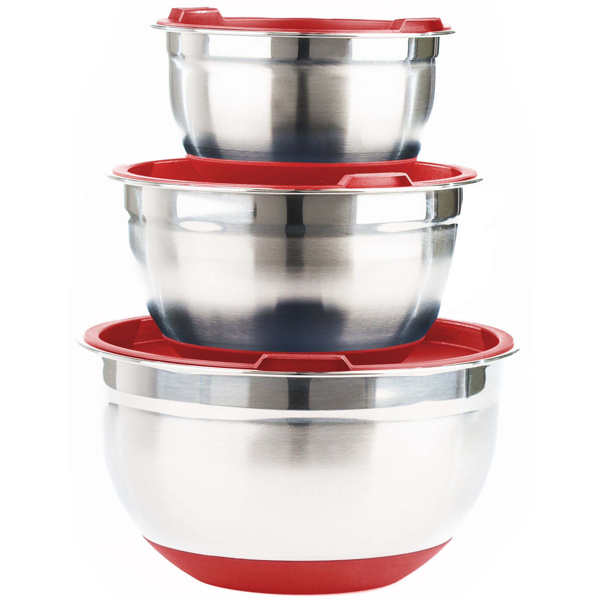 Fitzroy and Fox Non-Slip Stainless Steel Mixing Bowls with Lids, Set of 3, Red