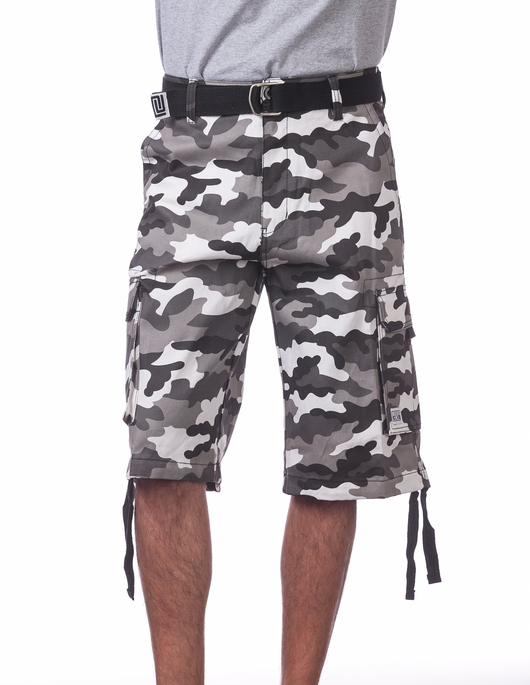 Pro Club Men's Cotton Twill Cargo Shorts with Belt, 36'', White (City Camo)