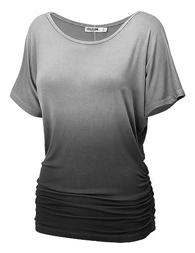 LL Womens Short Sleeve Heart Shape Tie-Dye Ombre Dolman Top – Made in USA