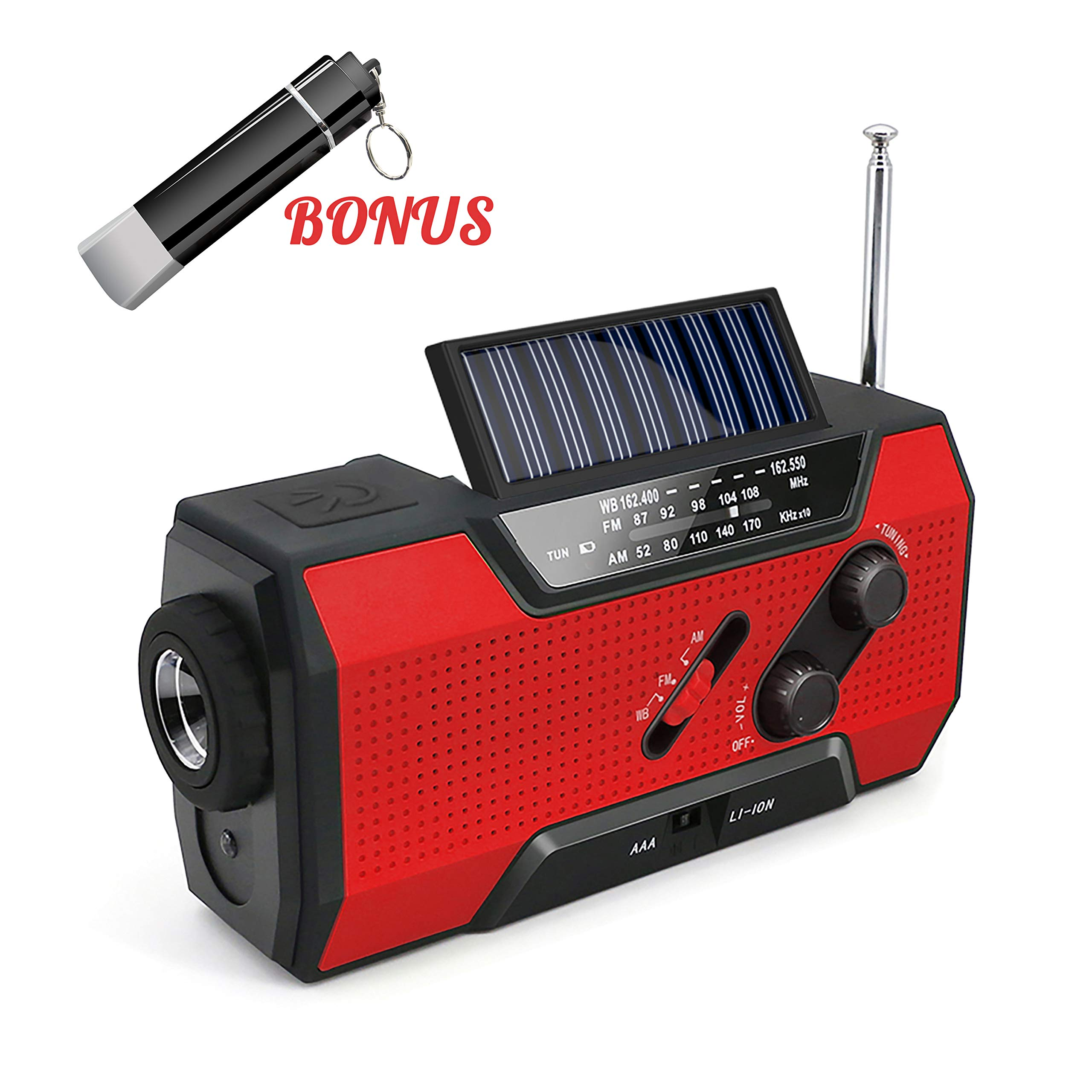 Emergency Rechargeable Solar Crank AM/FM/NOAA/Weather Radio with Flashlight,2000 mAh Power Bank,SOS Alarm, Reading Lamp,Phone Charger for Tornadoes Hurricanes,and Storms