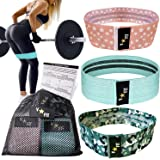 VStar Fit Fabric Resistance Bands for Legs and Butt, Exercise Bands, Booty Bands Set of 3 Non Slip Cotton Glute Loop Bands. Workout Program & Carry Case Included