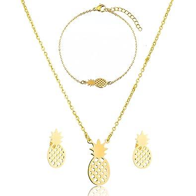 SKQIR Womens Stainless Steel Pineapple Jewelry Sets (Earrings+Bracelets+Necklaces  Jewelry Set) f2ed13c72f