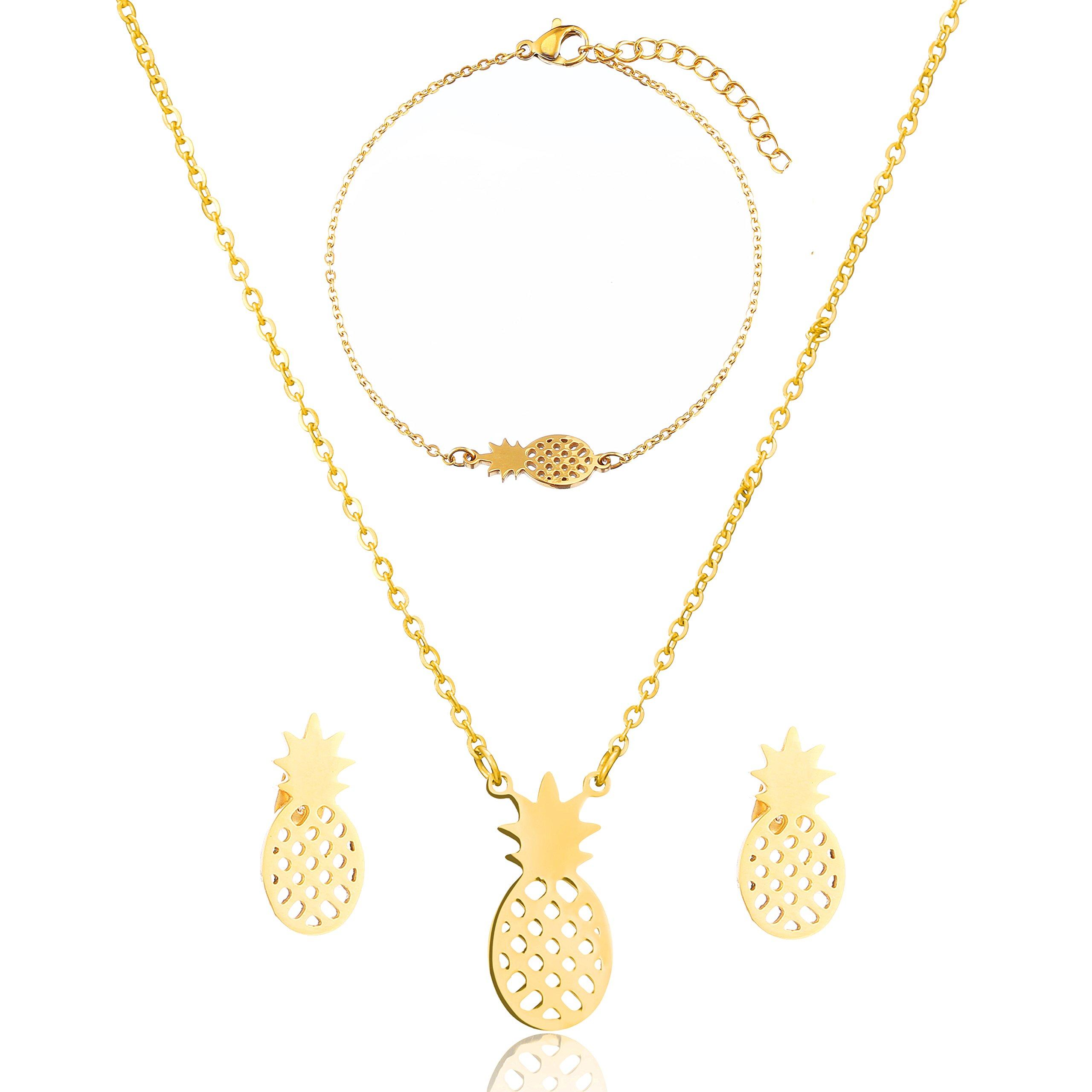 SKQIR Womens Stainless Steel Pineapple Jewelry Sets (Earrings+Bracelets+Necklaces Jewelry Set) (Gold Set)